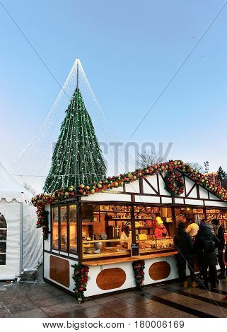 Christmas Tree And Gingerbread Souvenir Houses In Vilnius