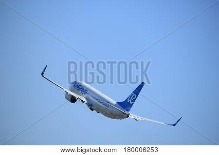 Amsterdam the Netherlands - April 2nd 2017: EC-MJU Air Europa Boeing 737 takeoff from Polderbaan runway Amsterdam Airport Schiphol