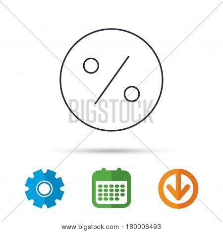 Discount percent icon. Sale sign. Special offer symbol. Calendar, cogwheel and download arrow signs. Colored flat web icons. Vector