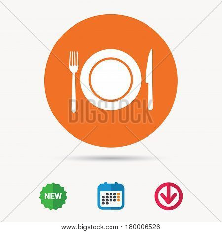 Dish, fork and knife icons. Cutlery symbol. Calendar, download arrow and new tag signs. Colored flat web icons. Vector