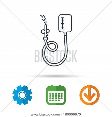 Drop counter icon. Medical procedure sign. Calendar, cogwheel and download arrow signs. Colored flat web icons. Vector