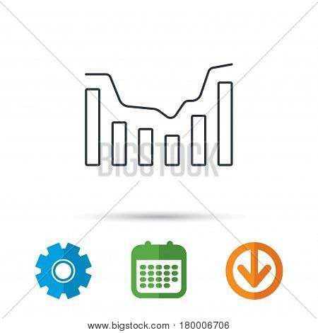 Dynamics icon. Statistic chart sign. Growth infochart symbol. Calendar, cogwheel and download arrow signs. Colored flat web icons. Vector