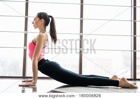 Urdhva Mukha Svanasana. Beautiful Yoga Woman Practice In A Training Hall Background. Yoga Concept.
