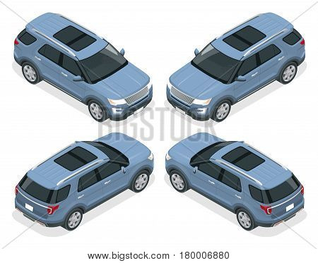 Off-road write car. Modern VIP transport. Flat 3d isometric vector illustration. For infographics and design games