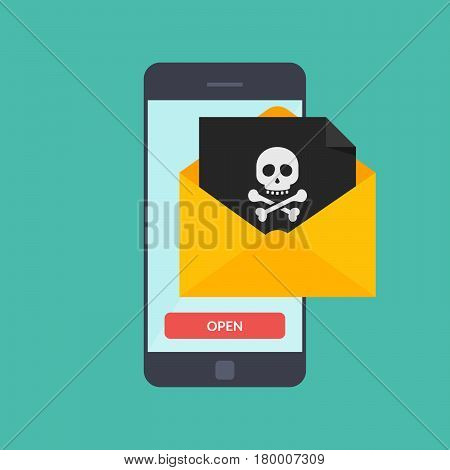 Back malware notification in email on mobile phone. Concept of spam data on cellphone fraud error message, scam, virus. Smartphone with skull bones alert. Flat vector illustration
