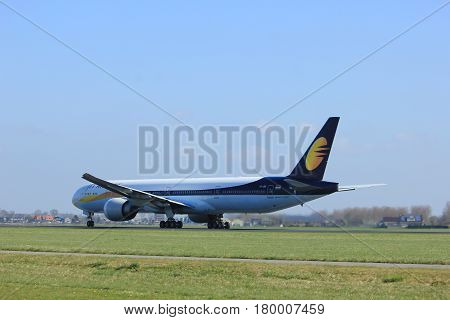 Amsterdam the Netherlands - April 2nd 2017: VT-JEU Jet Airways Boeing 777-300 takeoff from Polderbaan runway Amsterdam Airport Schiphol