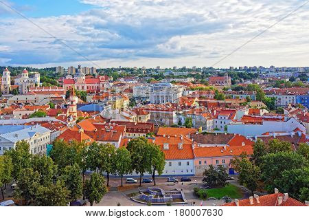 Old Town In Vilnius With Churches Spires And Town Hall