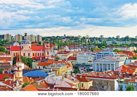 Old Town Of Vilnius With Churches Steeples And Town Hall