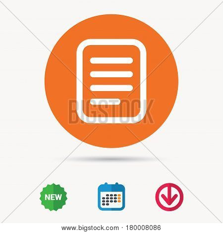 File icon. Text document page symbol. Calendar, download arrow and new tag signs. Colored flat web icons. Vector
