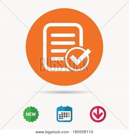 File selected icon. Document page with check symbol. Calendar, download arrow and new tag signs. Colored flat web icons. Vector