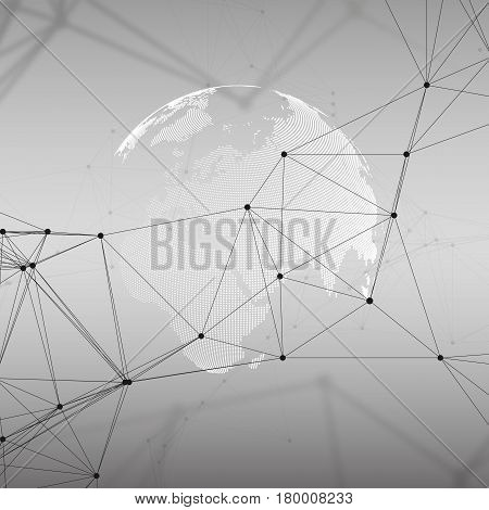 Dotted world globe with chemistry pattern, connecting lines and dots. Molecule structure on gray. Scientific medical DNA research. Science or technology concept. Geometric design abstract background.