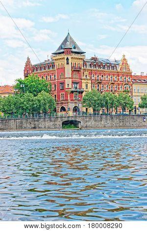 Building At Smetanovo Nabrezi On Vltava River Embankment In Prague