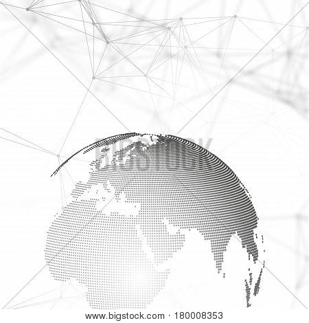 Abstract futuristic network shapes. High tech HUD background, connecting lines and dots, polygonal linear texture. World globe on gray. Global network connections, geometric design, dig data concept
