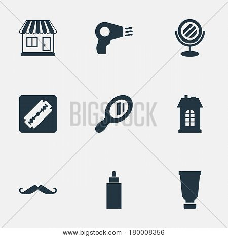 Vector Illustration Set Of Simple Barber Icons. Elements Whiskers, Reflector, Peeper And Other Synonyms Mustache, Tube And Reflector.