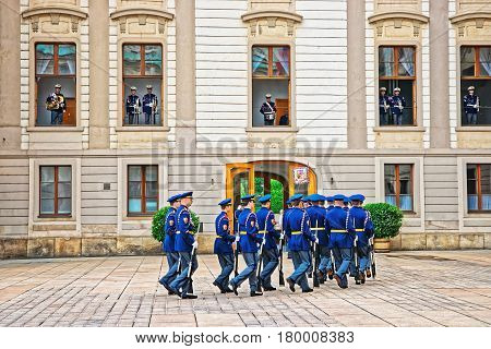 Changing Guard In Prague Castle