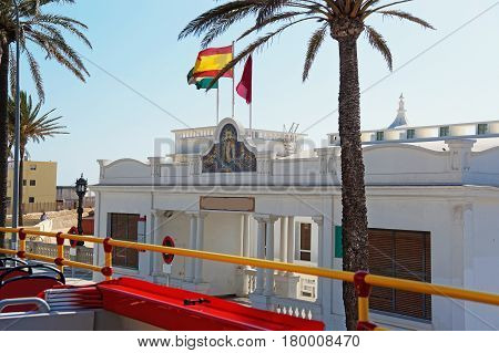 Entrance into Old Palm spa in the old city of Cadiz Andalusia Spain.