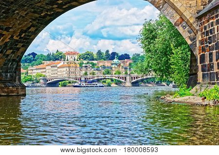 Jirasek Bridge Over Vltava River And Old Town Prague