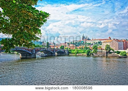 Jirasek Bridge Over Vltava River And Old Town In Prague