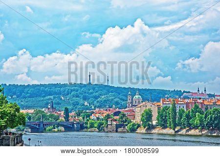Jirasek Bridge Over Vltava River And Old Town Of Prague