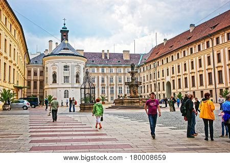 Kohl Fountain In Second Courtyard In Prague Castle