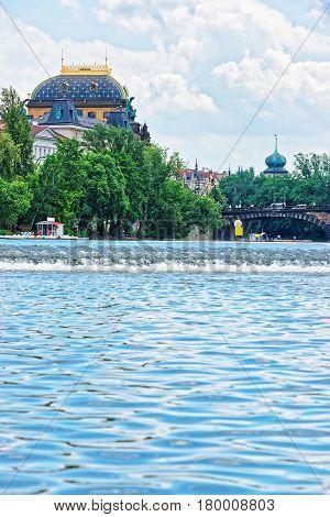 National Theater And Vltava River With Bridge Of Legions Prague