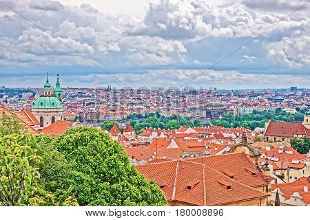 Panoramic View Of Saint Nicholas Church In Prague Old Town