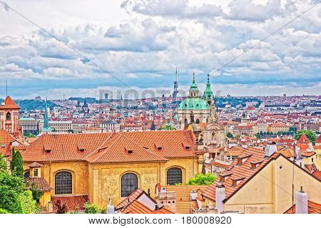 Panoramic View Of St Nicholas Church In Prague Old Town