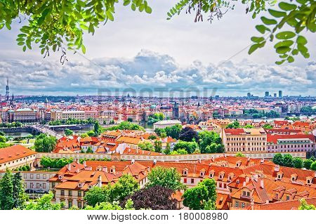 Panoramic View To Prague Old Town And Vltava River