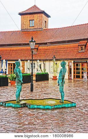 Peeing Statues At Kafka Museum In Prague