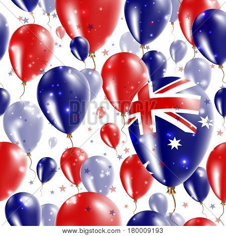 Australia Independence Day Seamless Pattern. Flying Rubber Balloons In Colors Of The Australian Flag