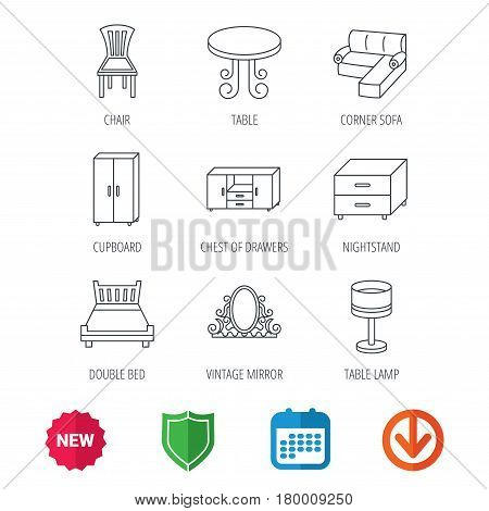 Corner sofa, table and cupboard icons. Chair, lamp and nightstand linear signs. Vintage mirror, double bed and chest of drawers icons. New tag, shield and calendar web icons. Download arrow. Vector