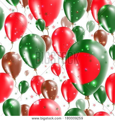 Bangladesh Independence Day Seamless Pattern. Flying Rubber Balloons In Colors Of The Bangladeshi Fl