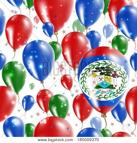 Belize Independence Day Seamless Pattern. Flying Rubber Balloons In Colors Of The Belizean Flag. Hap