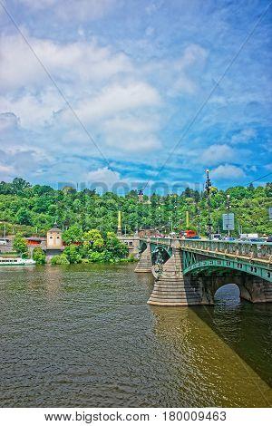 Svatopluk Cech Bridge Over Vltava River In Prague