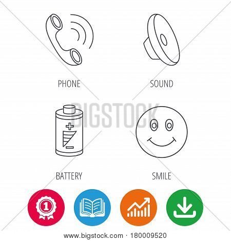 Phone call, battery and sound icons. Smiling face linear sign. Award medal, growth chart and opened book web icons. Download arrow. Vector