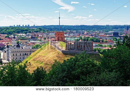 Tower And Grand Dukes Lower Castle In Vilnius Of Lithuania
