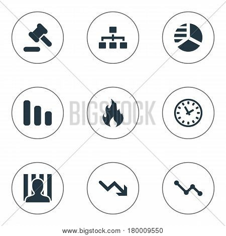 Vector Illustration Set Of Simple Situation Icons. Elements Clock, Net, Penitentiary And Other Synonyms Circle, Law And Hammer.