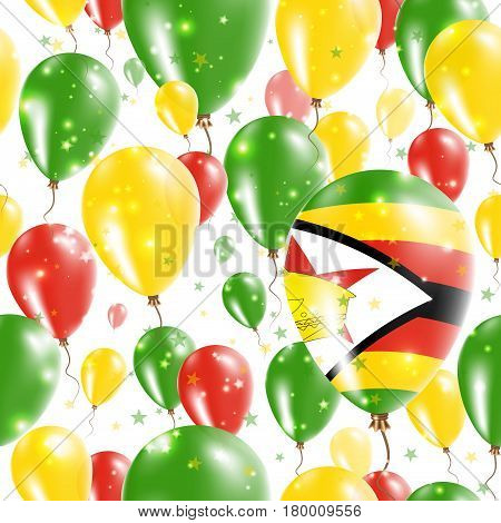 Zimbabwe Independence Day Seamless Pattern. Flying Rubber Balloons In Colors Of The Zimbabwean Flag.
