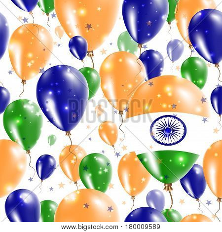 India Independence Day Seamless Pattern. Flying Rubber Balloons In Colors Of The Indian Flag. Happy