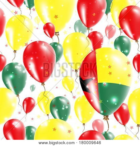 Guinea-bissau Independence Day Seamless Pattern. Flying Rubber Balloons In Colors Of The Guinea-biss