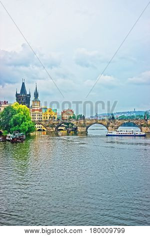 Water Ferry At Charles Bridge In Prague
