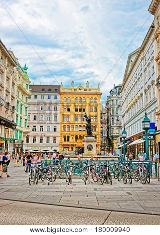 Bicycles And Tourists In Graben Street In Vienna