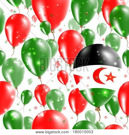 Western Sahara Independence Day Seamless Pattern. Flying Rubber Balloons In Colors Of The Sahrawi Fl