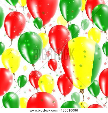 Guinea Independence Day Seamless Pattern. Flying Rubber Balloons In Colors Of The Guinean Flag. Happ