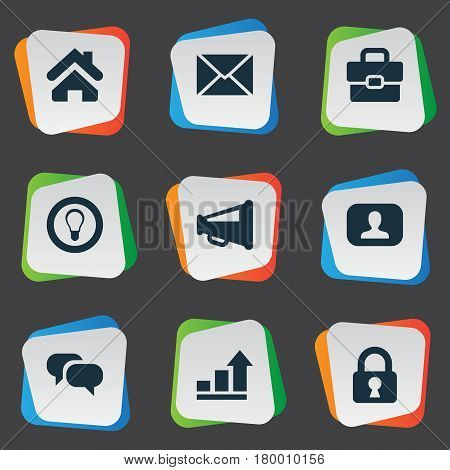 Vector Illustration Set Of Simple Trade Icons. Elements Padlock, Representative, Progress And Other Synonyms Home, Estate And Suitcase.