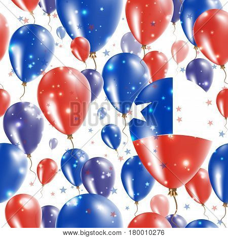 Chile Independence Day Seamless Pattern. Flying Rubber Balloons In Colors Of The Chilean Flag. Happy
