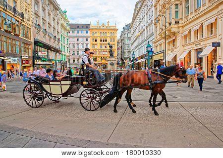 Horse Fiacre At Stephansplatz In Vienna