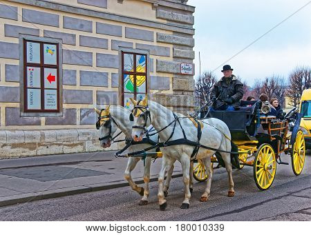 Horse Fiacre At Old City Of Vienna