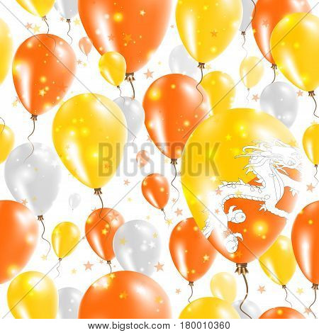 Bhutan Independence Day Seamless Pattern. Flying Rubber Balloons In Colors Of The Bhutanese Flag. Ha