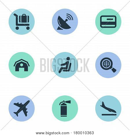 Vector Illustration Set Of Simple Plane Icons. Elements Alighting Plane, Seat, Antenna And Other Synonyms Satelite, Protection And Wold.